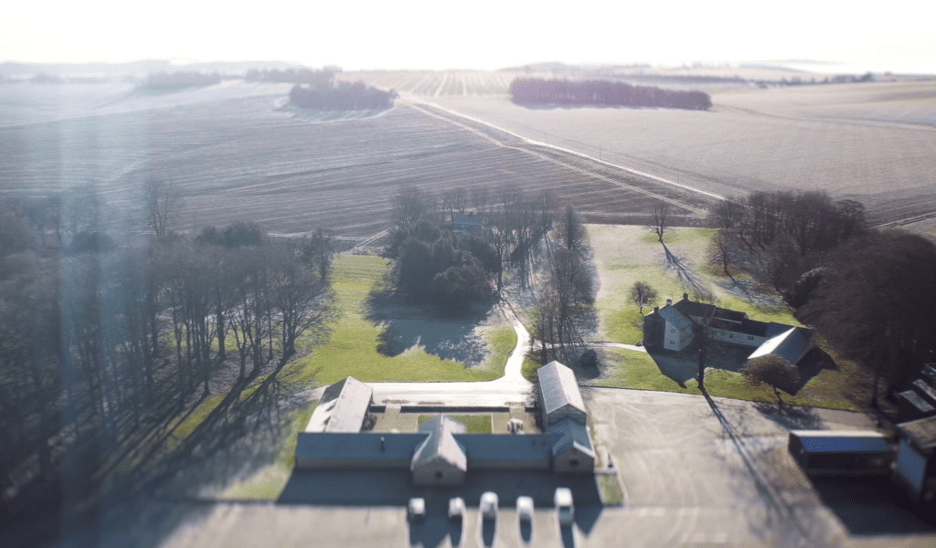 Drone shot of The Gatherng Barn